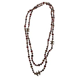 Chanel-Chanel long necklace-Multiple colors,Dark red