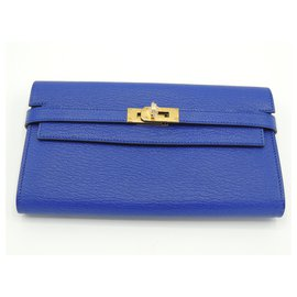 Hermès-HERMES KELLY WALLET POCHETTE/PORTEFEUILLE-Bleu