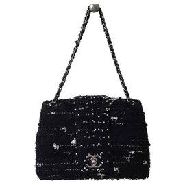 Chanel-Sac à main classique en tweed-Noir