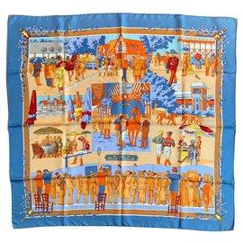 Hermès-Un siècle de Courses à Deauville-Bleu,Orange,Jaune,Bleu foncé