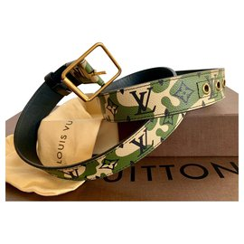 Louis Vuitton-Monogramouflage Murakami Belt 90-Khaki