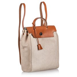Hermès-Sac à dos Hermes Brown Herbag-Marron,Beige