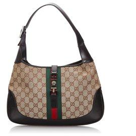 Gucci-Gucci Brown GG Canvas Web Sac à bandoulière Jackie-Marron,Multicolore,Beige