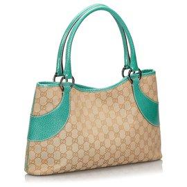 Gucci-Sac cabas en toile Gucci Brown GG-Marron,Beige,Vert