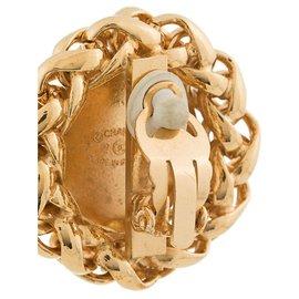 Chanel-Boucles d'oreilles clip oversizees en or Chanel-Doré