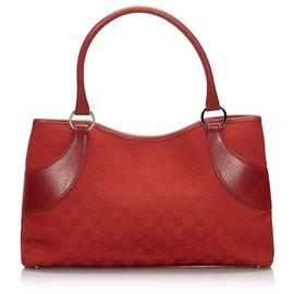 Gucci-Sac cabas en toile rouge GG de Gucci-Rouge