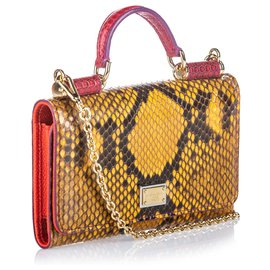 Dolce & Gabbana-Dolce & Gabbana Portefeuille Sicily en python brun-Marron,Rouge