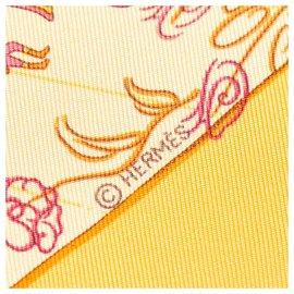 Hermès-Foulard Hermes Orange Effluves en soie-Rose,Orange