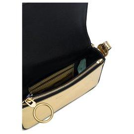 Off White-Mini sac cartable à pince métallisé or blanc cassé-Doré