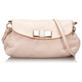 Chloé-Chloe Pink Leather Lily Bow Crossbody Bag-Pink,Other