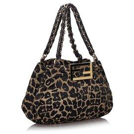 Fendi-Fendi - Sac bandoulière Mia en toile à imprimé léopard noir-Marron,Noir,Beige