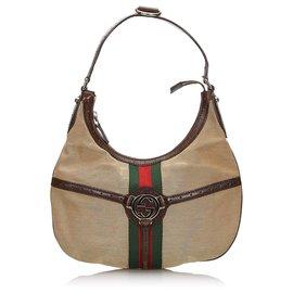 Gucci-Sac à bandoulière rênes en toile brun de Gucci-Marron,Multicolore,Beige