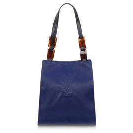 Yves Saint Laurent-Sac à bandoulière en nylon gaufré bleu YSL-Noir,Bleu,Bleu Marine