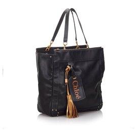 Chloé-Chloe Black Leather Eden Tote Bag-Black