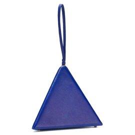Autre Marque-Pochette pyramide en cuir bleue YSL-Bleu