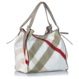 Burberry-Burberry Sac cabas à boucle en nylon blanc à motif check méga-Blanc,Multicolore