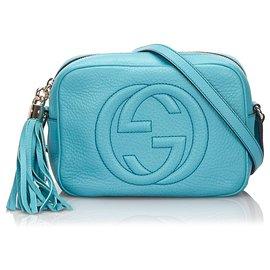 Gucci-Sac à bandoulière Soho Disco en cuir bleu de Gucci-Bleu,Bleu clair