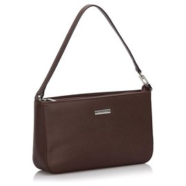 Burberry-Burberry Brown Leather Baguette-Brown,Dark brown