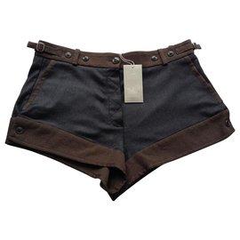 Vanessa Bruno-Short en laine gris brun-Marron,Gris anthracite