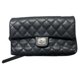 Chanel-leather clutch bag-Black