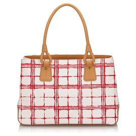 Burberry-Burberry White Canvas Handbag-White,Red,Cream