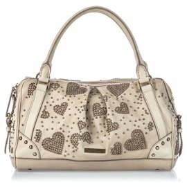 Burberry-Burberry Brown Studded Leather Pilgrim Handbag-Brown,Beige