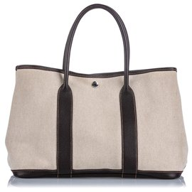 Hermès-Hermes White Garden Party PM-Brown,White,Dark brown