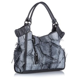 Burberry-Burberry Gray Raffia Tote Bag-Grey