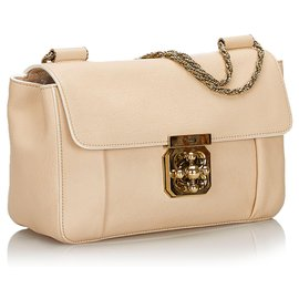 Chloé-Chloe Brown Leather Elsie Shoulder Bag-Brown,Beige
