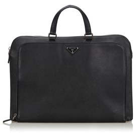 Prada-Porte-documents Prada en cuir noir-Noir
