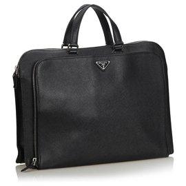 Prada-Prada Black Leather Briefcase-Black