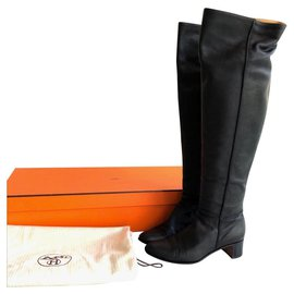 Hermès-Hermes black leather boots EU37-Black