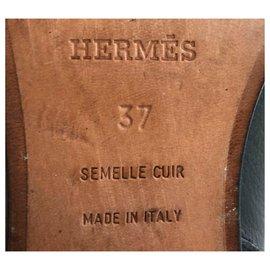 Hermès-Bottes Hermes en cuir noir EU37-Noir