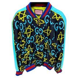 Gucci-Gucci édition limitée GHOST veste EU42-Noir,Bleu