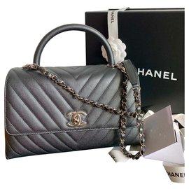 Chanel-Poignée Coco Caviar Chevron SHW-Gris anthracite