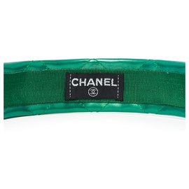 Chanel-GREEN QUILTED HEADBAND-Green