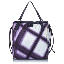 Burberry-Burberry White Mega Check Nylon Buckleigh Tote Bag-White,Purple
