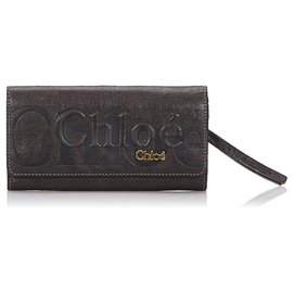 Chloé-Chloe Black Leather Eclipse Long Wallet-Black