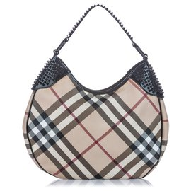 Burberry-Burberry Brown Nova Check Canvas Hobo Bag-Brown,Multiple colors,Beige