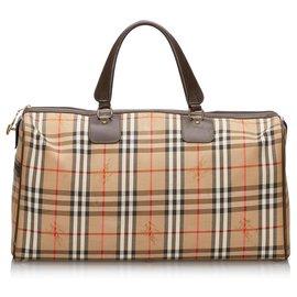 Burberry-Burberry Brown Haymarket Check Duffle Bag-Brown,Multiple colors,Beige
