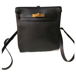 Hermès-Black Togo Hermes Kelly ado backpack-Black