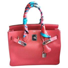 Hermès-HERMES BIRKIN 30 in Clemence Rose Jaipur PHW-Pink