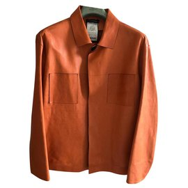 Jil Sander-JIL SANDER NEW MEN'S SAMPLE LEATHER JACKET-Coral