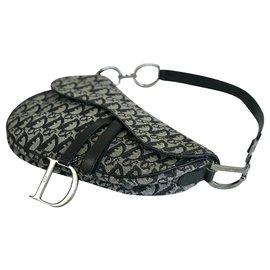 Dior-Large Dior Monogrammed Saddle Bag-Black,Grey