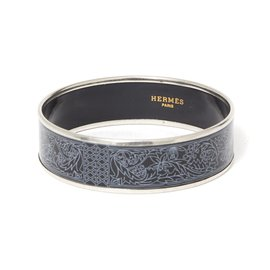Hermès-WATERMARK BLACK ENAMEL LARGE-Black,Silvery