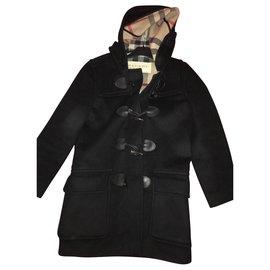 Burberry Brit-Boy Coats Outerwear-Black