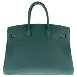 Hermès-HERMES BIRKIN 35 Malachite green Togo leather, PHW, 2017,  full set!-Green