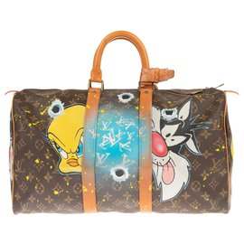 "Louis Vuitton-Louis Vuitton Keepall bag 45 custom Monogram canvas ""Titi & Grosminet"" by PatBo!-Brown"