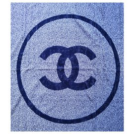 Chanel-Sublime blue Chanel bath towel-White,Light blue,Dark blue