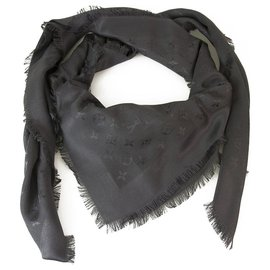 Louis Vuitton-Louis Vuitton monogram Graphite Tone on tone shawl weaved jacquard silk M74752-Dark grey